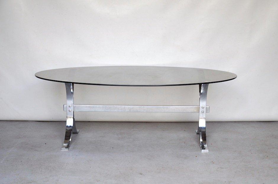 table basse en verre fume et metal par milo baughman 1970s