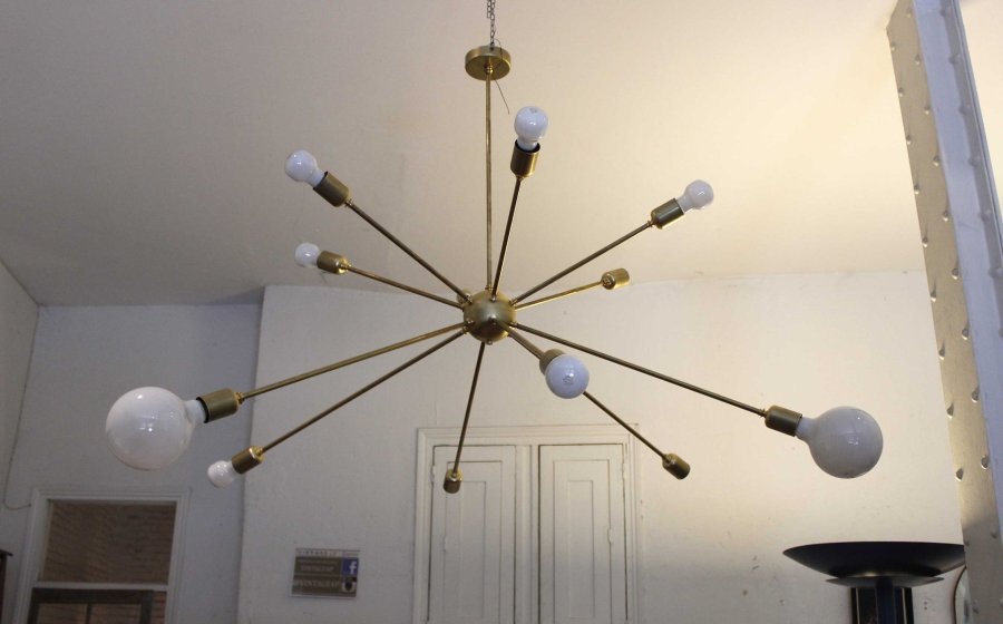 Sputnik Ceiling Light with 12 Arms by Juanma Lizana for sale at Pamono Sputnik Ceiling Light with 12 Arms by Juanma Lizana