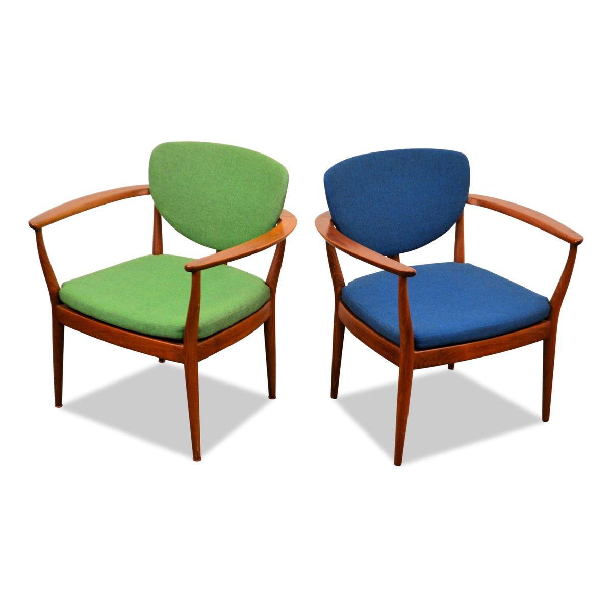 Danish Green Amp Blue Teak Lounge Chairs Set Of 2 For Sale