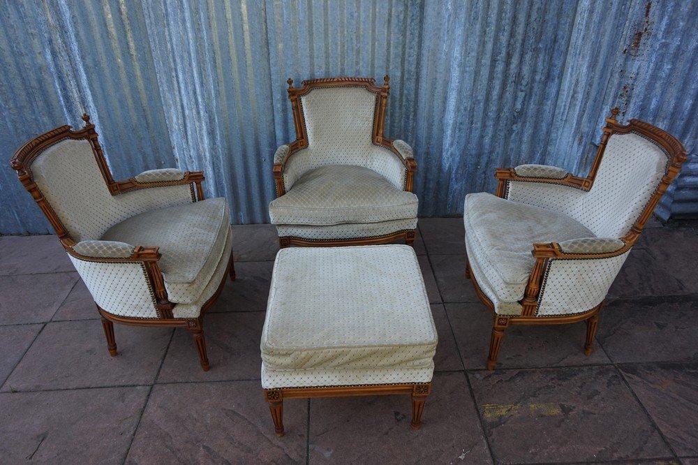 fauteuils de salon avec ottomane vintage style louis xvi france
