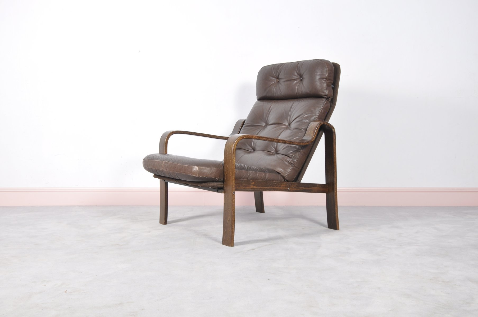 Mid Century Rosewood Leather Bentwood Armchair