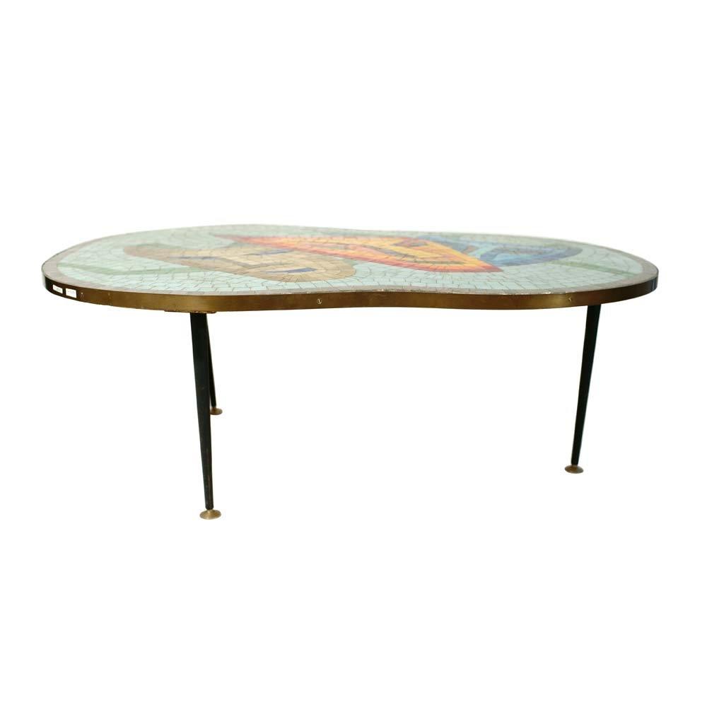 table basse avec plateau en mosaique 1960s