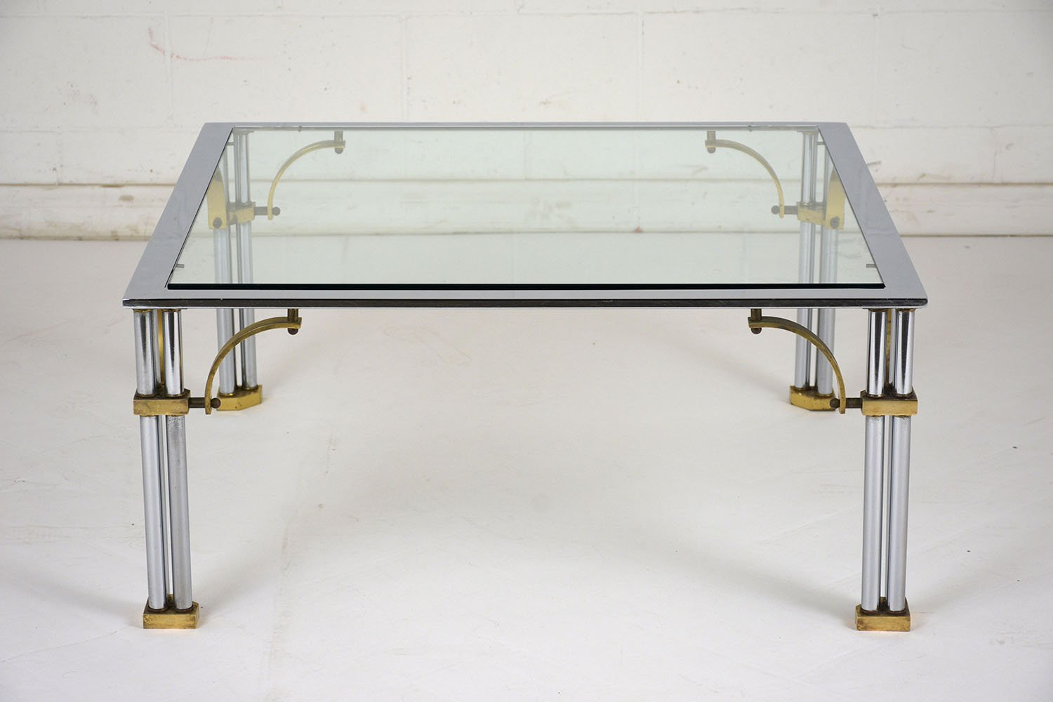Square Mid Century Chrome Brass Coffee Table 1960s