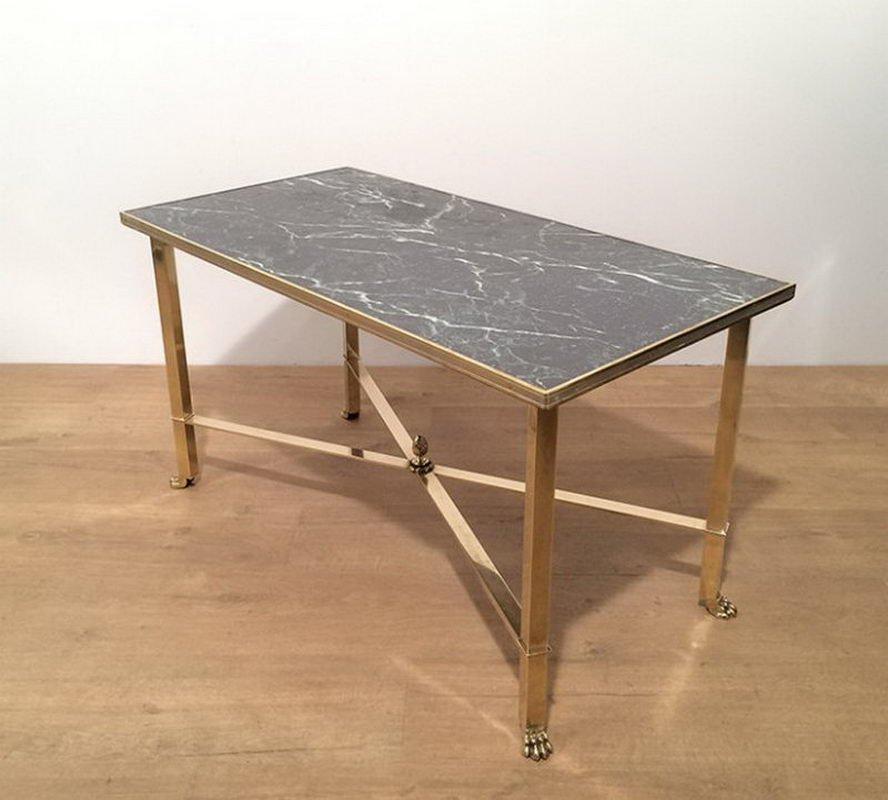 table basse avec pied en forme de griffe et plateau en faux marbre 1940s