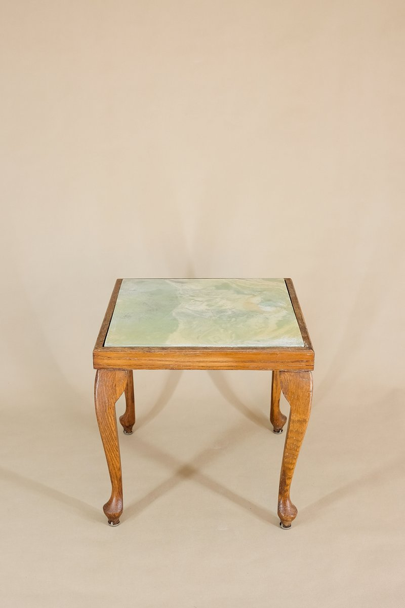side table or stool with tile top 1940s