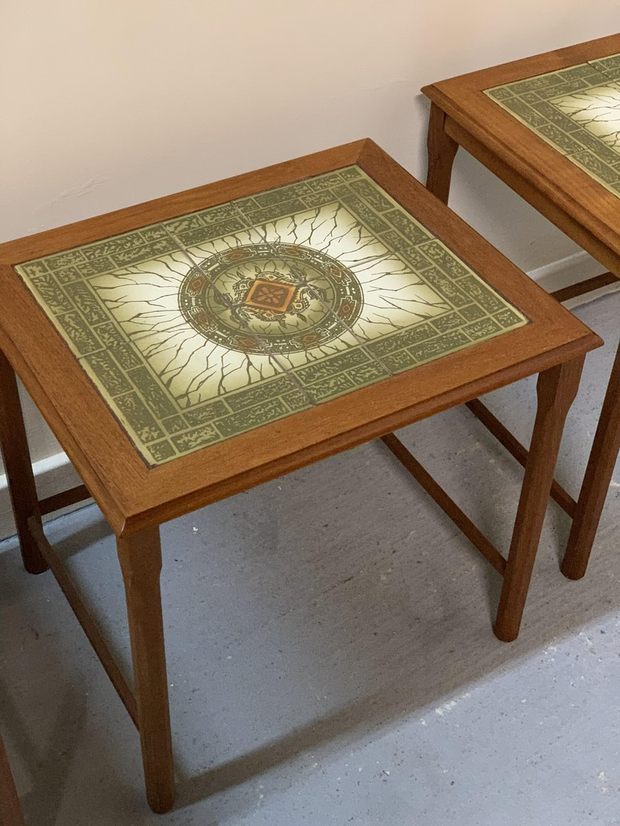 vintage danish nesting tables with tile tops