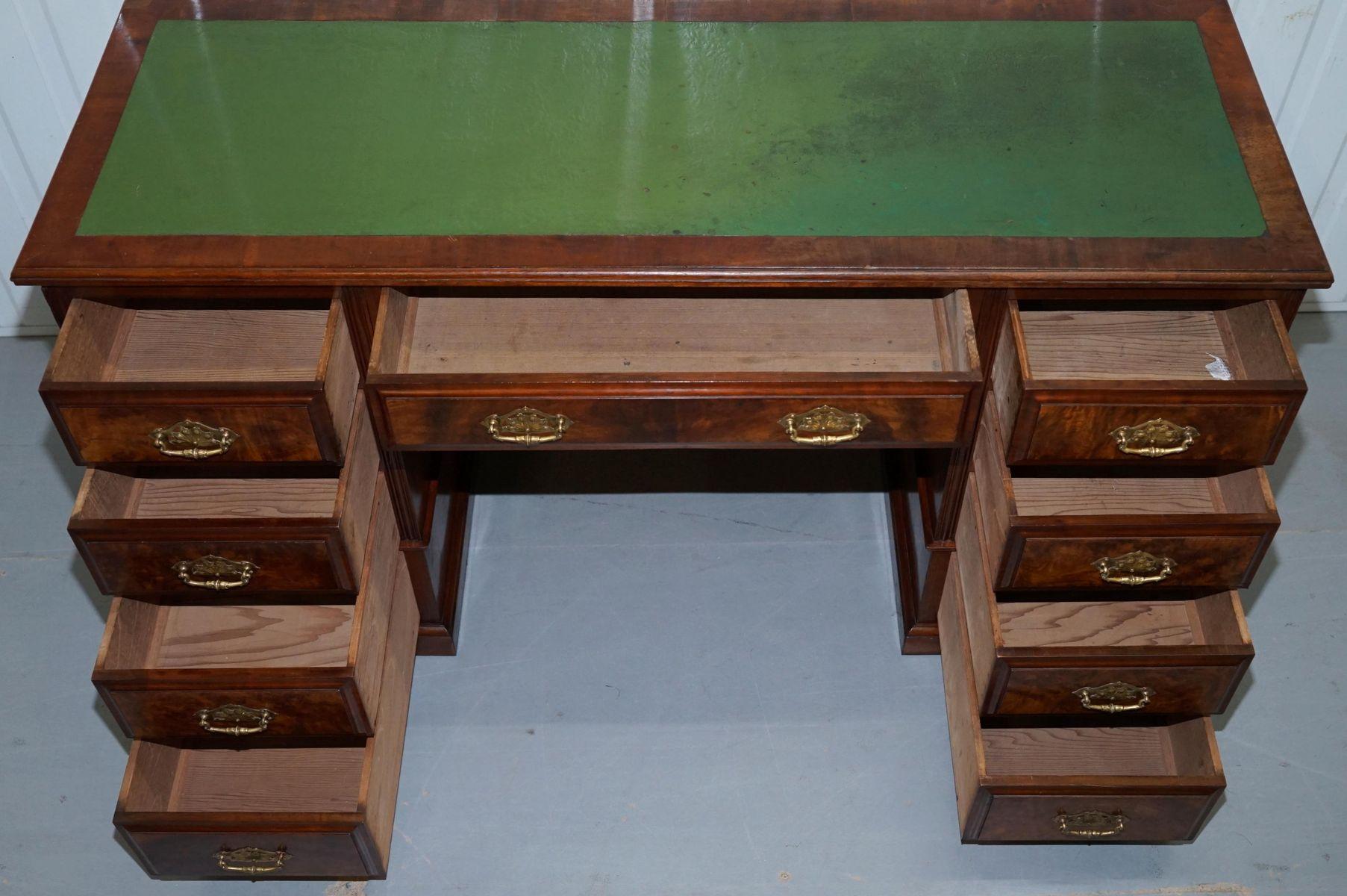 Large Victorian Burr Walnut Pedestal Desk S For Sale