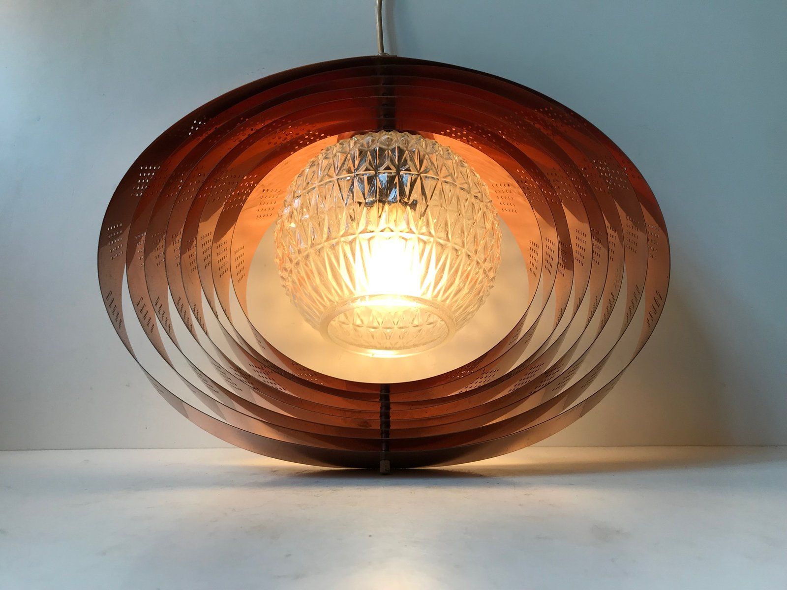 danish copper moon pendant lamp by werner schou for coronell 1960s