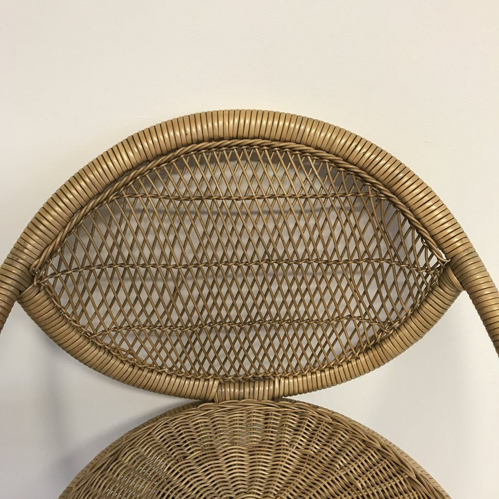 Mid Century Metal And Rattan Stool 1960s For Sale At Pamono