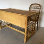 Mid Century Italian Bamboo Wicker Desk Set 1960s