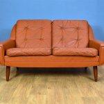 Mid Century Danish Tan Leather 2 Seater Sofa 1960s