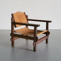 Safari Stuhl aus Leder & Holz, 1970er bei Pamono kaufen