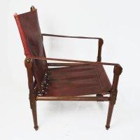 Vintage Safari Stuhl aus kastanienbraunem Leder & Holz ...