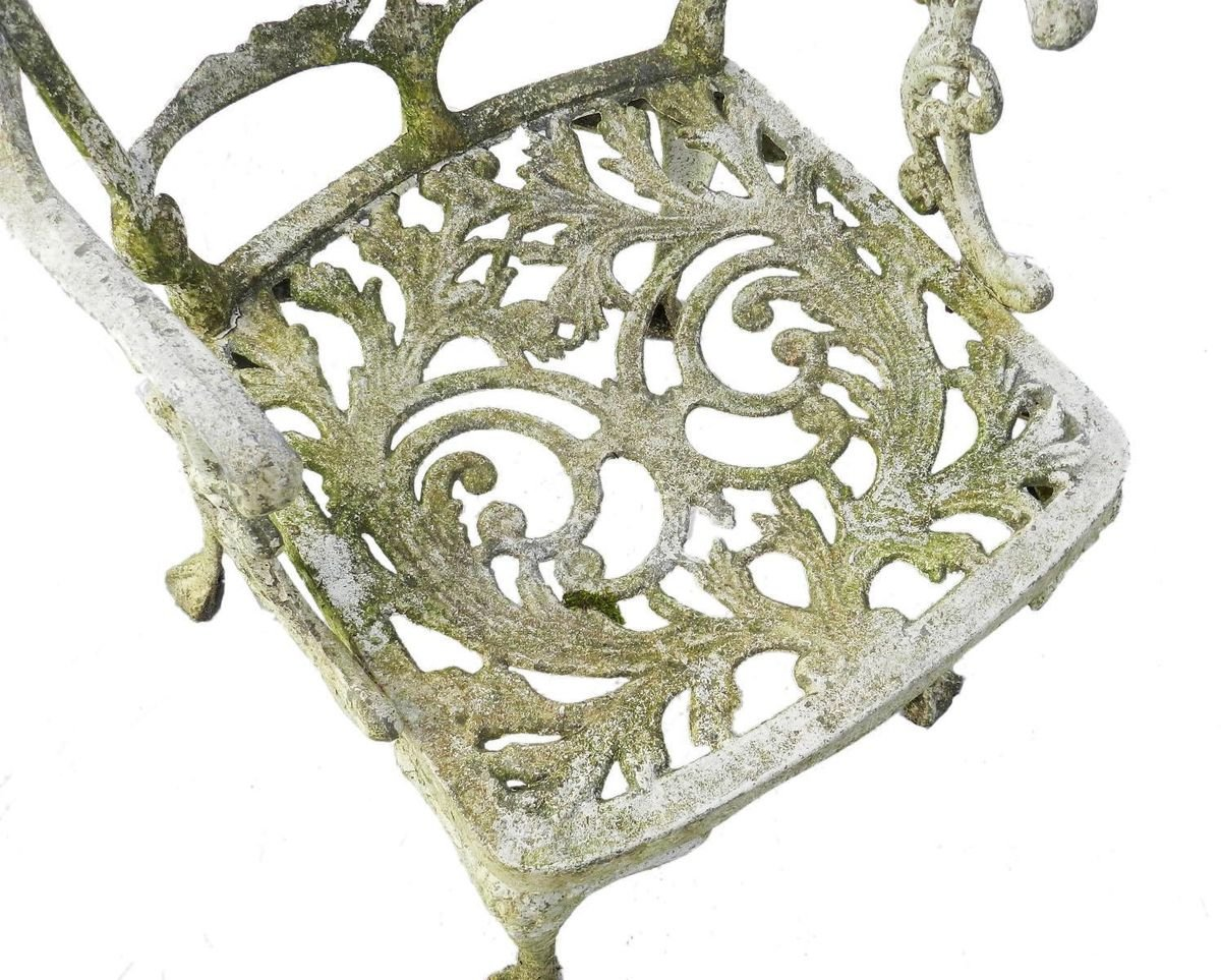 weathered cast iron patio garden chair 1960s