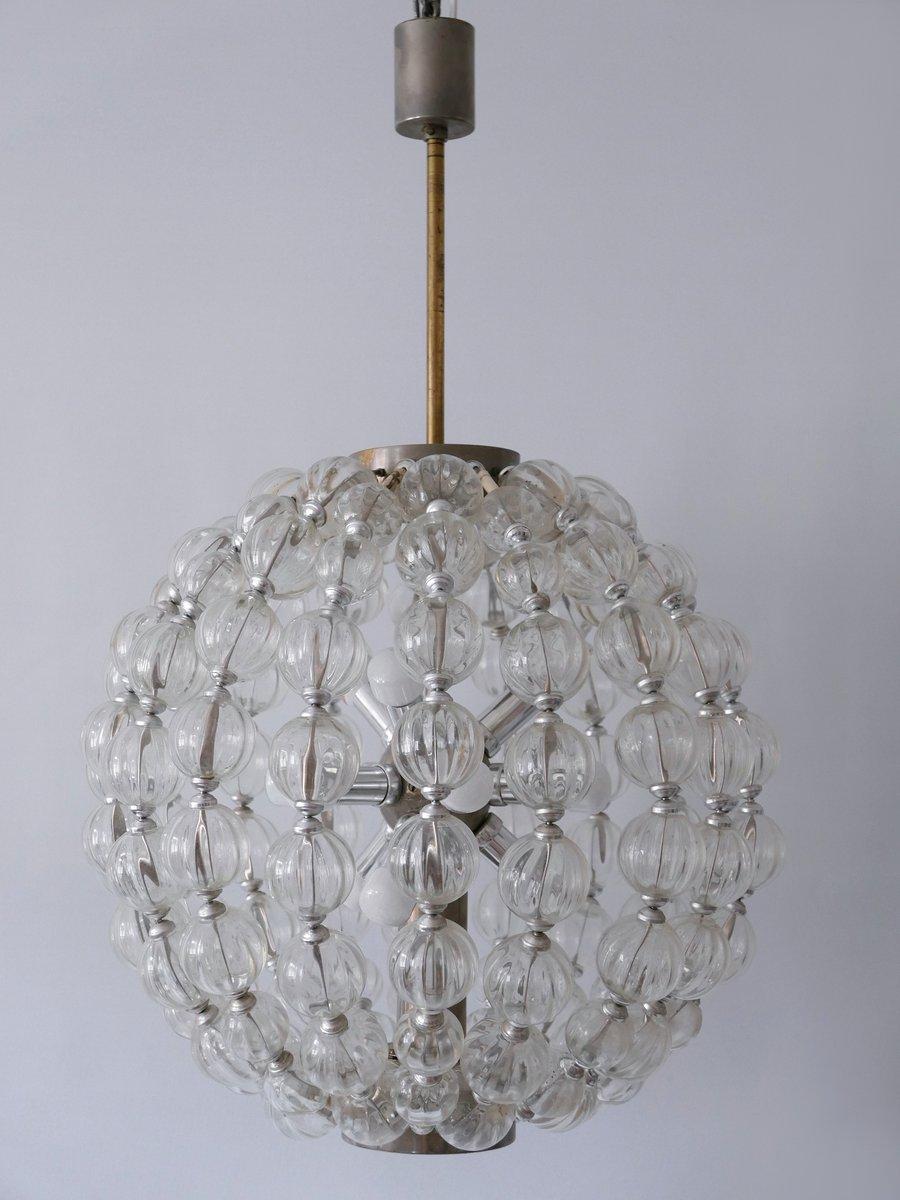 large mid century german 13 light glass sputnik chandelier from veb leuchtenbau leipzig 1960s