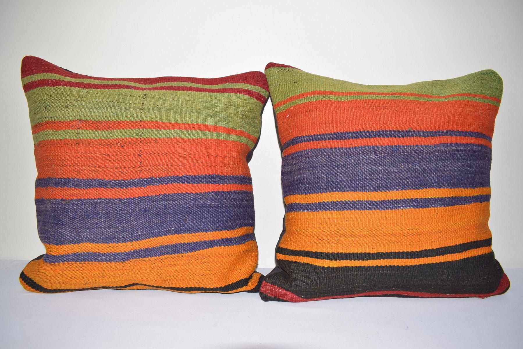 rustic kilim throw cushion covers set of 2