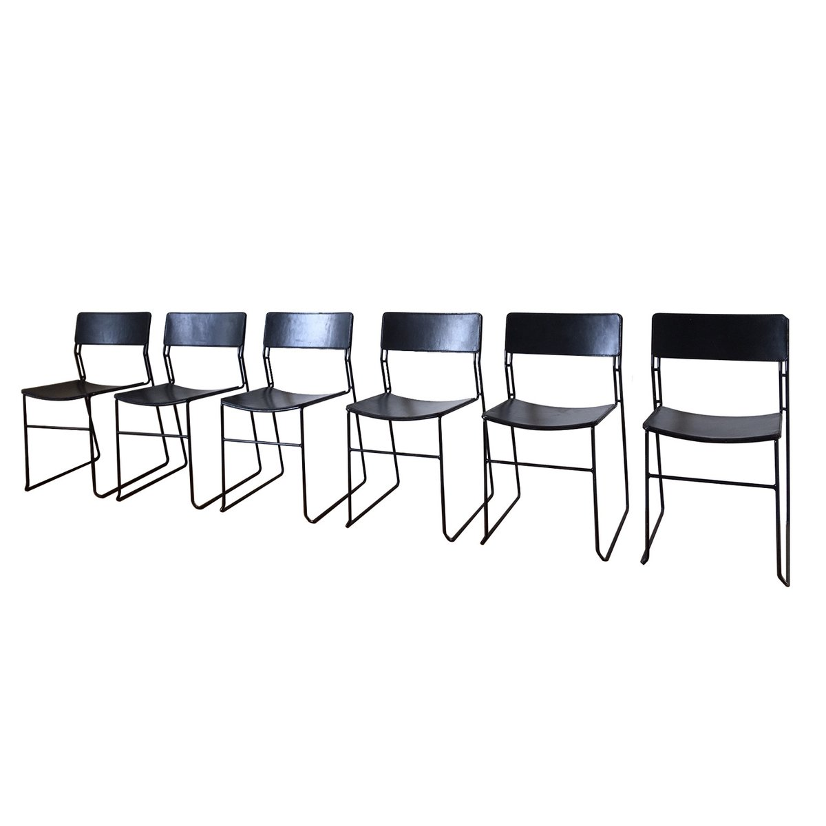 Italian Sultana Dining Chairs In Metal And Leather From