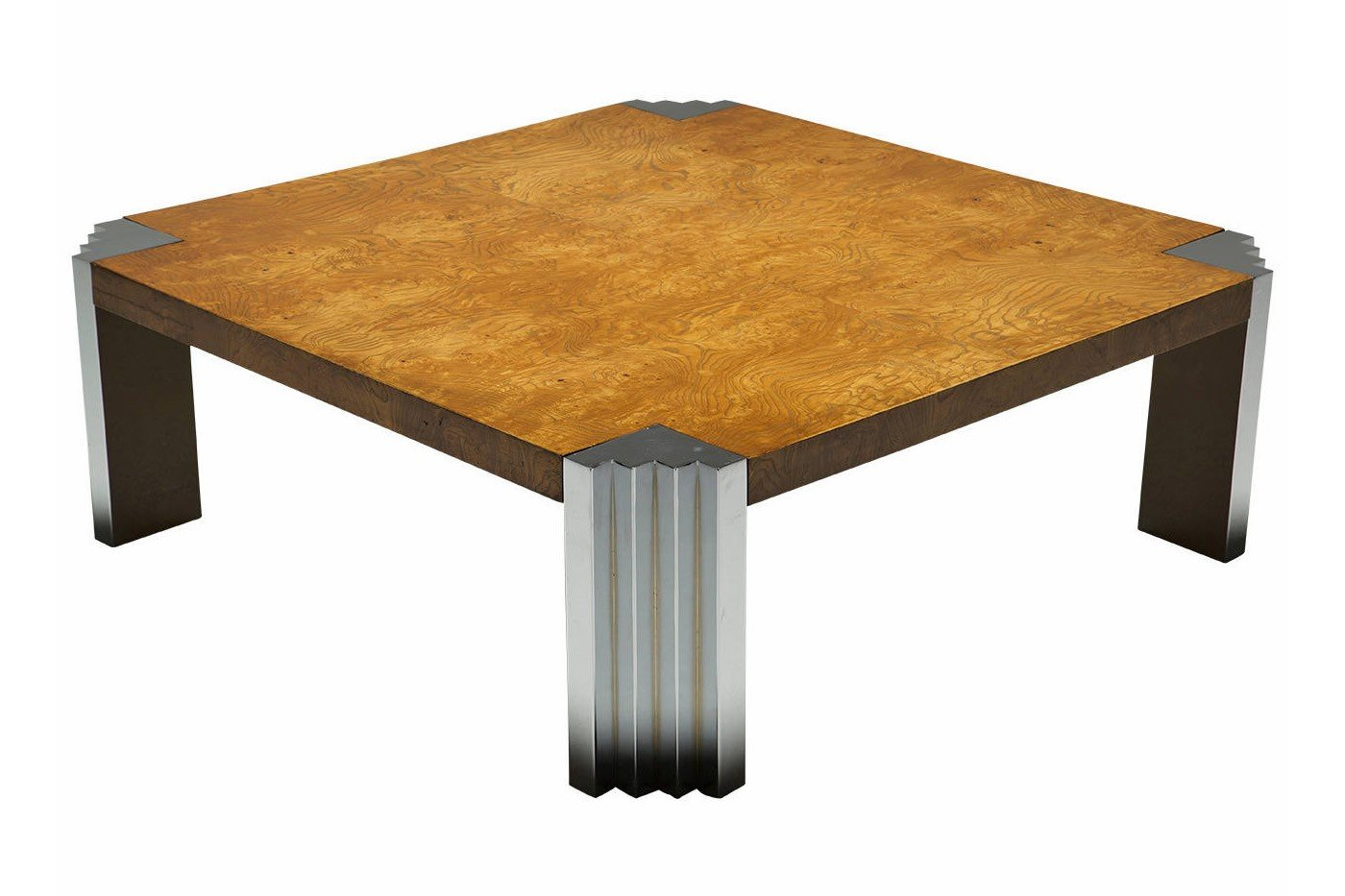 Burr Walnut And Chrome Square Coffee Table For Sale At Pamono