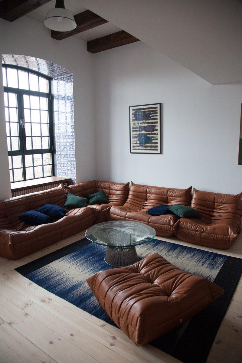 Vintage Togo Cognac Leather Living Room Set By Michel