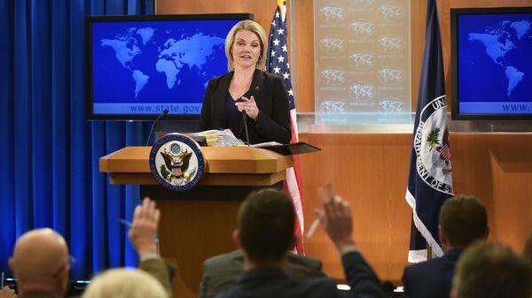 Sprecherin des US-Außenministeriums Heather Nauert während des Briefings