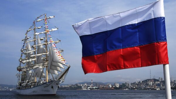 Russian sailing ship Nadezhda escorts foreign sailing ships that took part in the regatta as part of the Eastern Economic Forum in Vladivostok