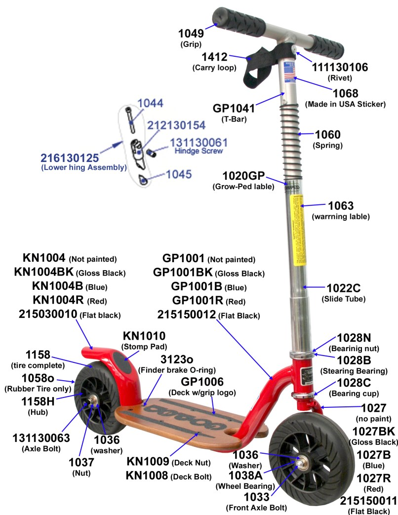 Parts Push Scooter Grow Ped Www Goped Com