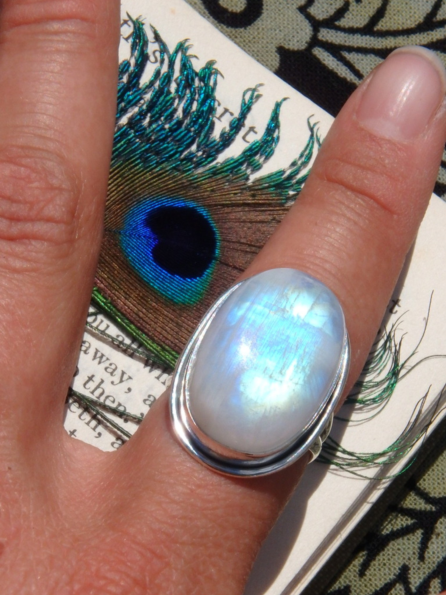 Chunky Rainbow Flashes Moonstone Ring In Sterling Silver ...