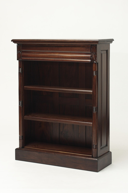Small Colonial Mahogany Bookcase Laurel Crown