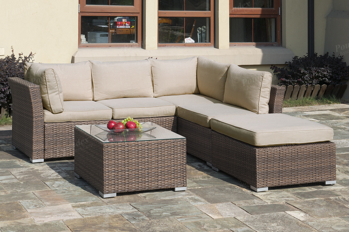 Lizkona Outdoor Patio 4-Pcs Sectional Sofa Set With Coffee