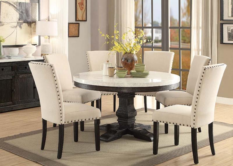 54 Nolan Round White Marble Top Dining Room Set ACME 72845