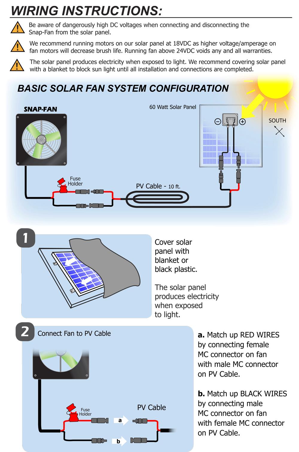 Information  Solar Install and Wiring  SnapFan; Solar