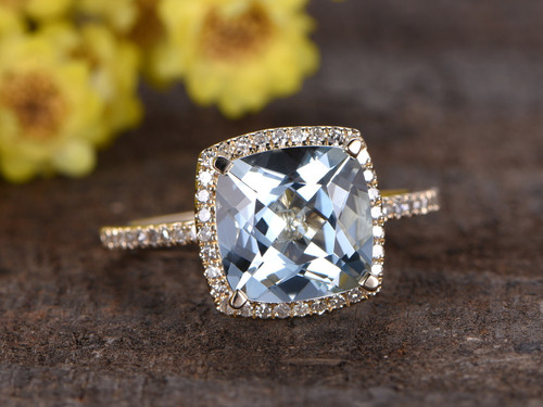 3 Carat Cushion Cut Aquamarine Diamond Engagement Ring 14k