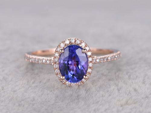 Tanzanite And Diamond Engagement Ring Rose Gold 12 Carat