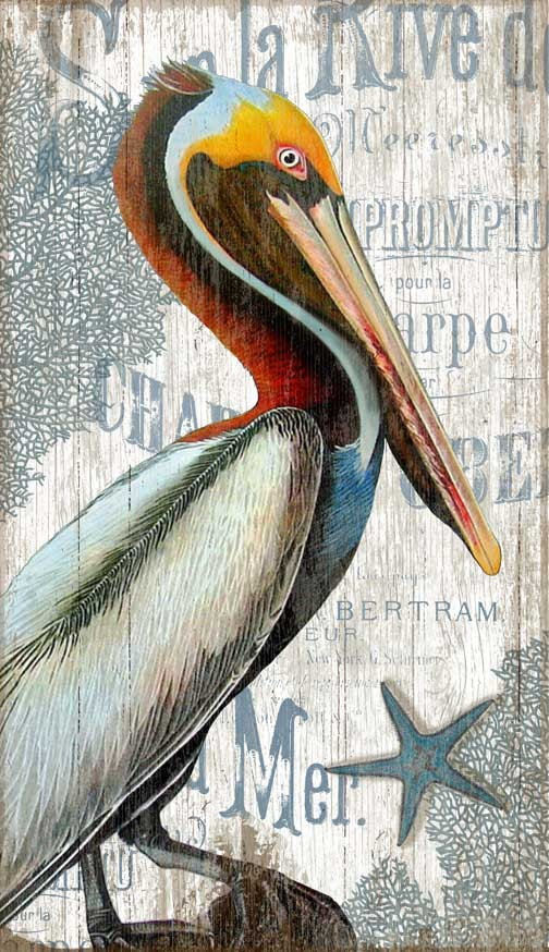 Vintage Pelican Sign Pelican Wall Art