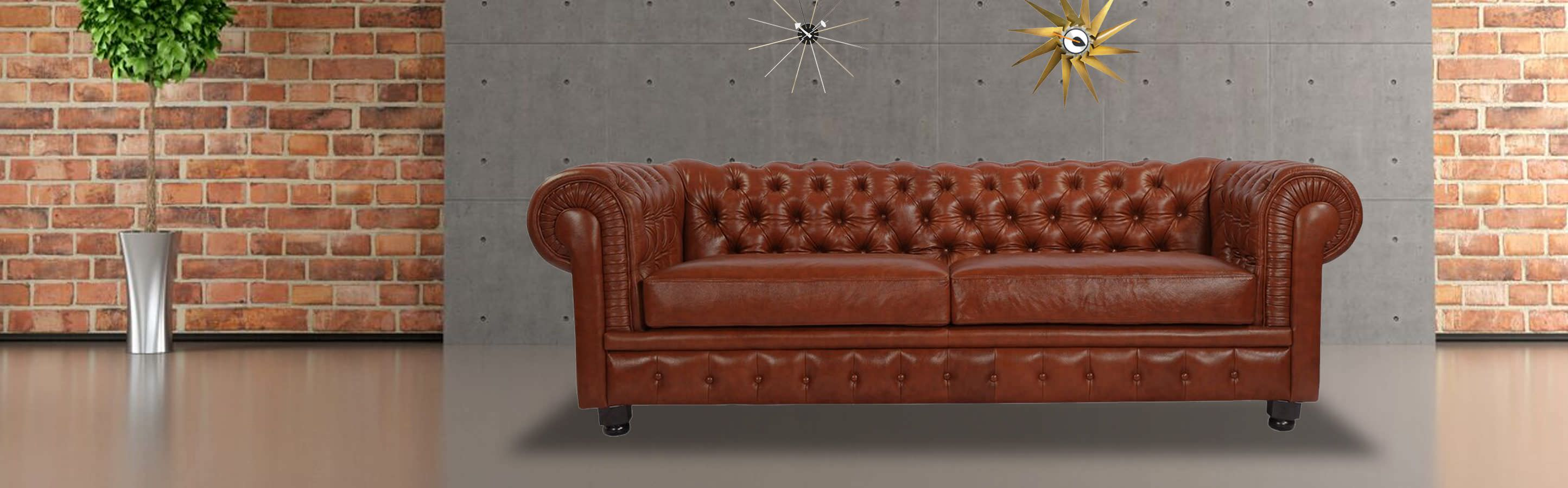Chesterfield Sofa  Cognac Vintage Distressed Leather   Kardiel chesterfieldsofa