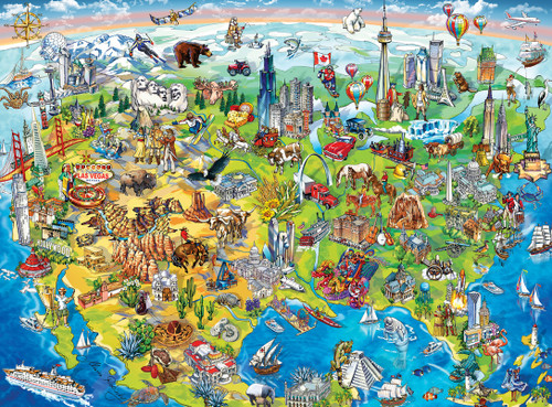 Kids Eye View North America Map 100pc Jigsaw Puzzle By Masterpieces