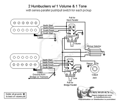 2 Humbuckers3Way Toggle Switch1 Volume1 ToneSeries Parallel