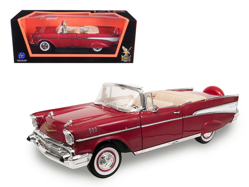 Diecast Model Cars wholesale toys dropshipper drop shipping 1957     1957 Chevrolet Bel Air Convertible Red 1 18 Diecast Model Car Road  Signature 92108
