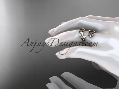 14k Rose Gold Diamond Leaf And Vine Wedding Ring