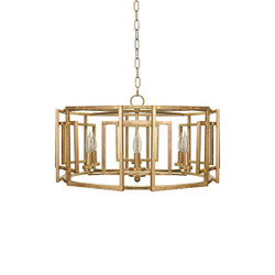 Mckenzie Square Motif Drum Chandelier With Six Arm Light In Gold Leaf