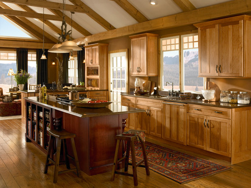 hickory kitchen in honey spice kraftmaid on kitchen design ideas photos and videos hgtv id=66824