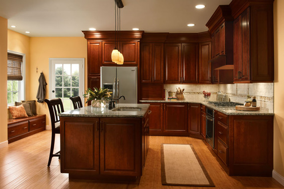 cherry kitchen in autumn blush kraftmaid on kitchen design ideas photos and videos hgtv id=78543