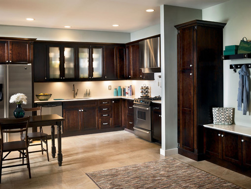 cherry kitchen in peppercorn kraftmaid on kitchen design ideas photos and videos hgtv id=82285