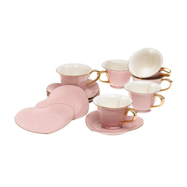 Inside Out Heart Cup & Saucer Set, Pink/Gold | 2Shopper.com