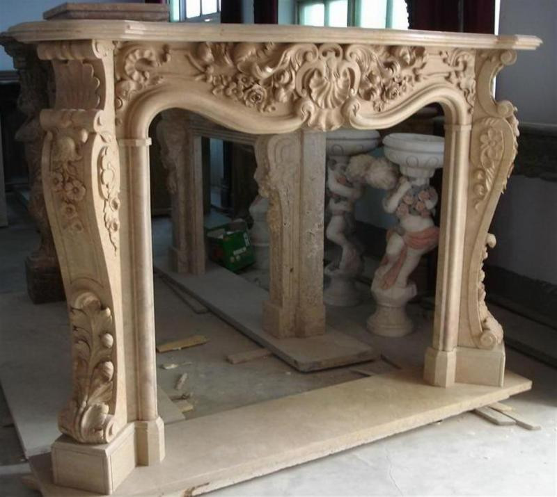 Hand Carved Marble Fireplace Mantel French Rococo Baroque Style EBay