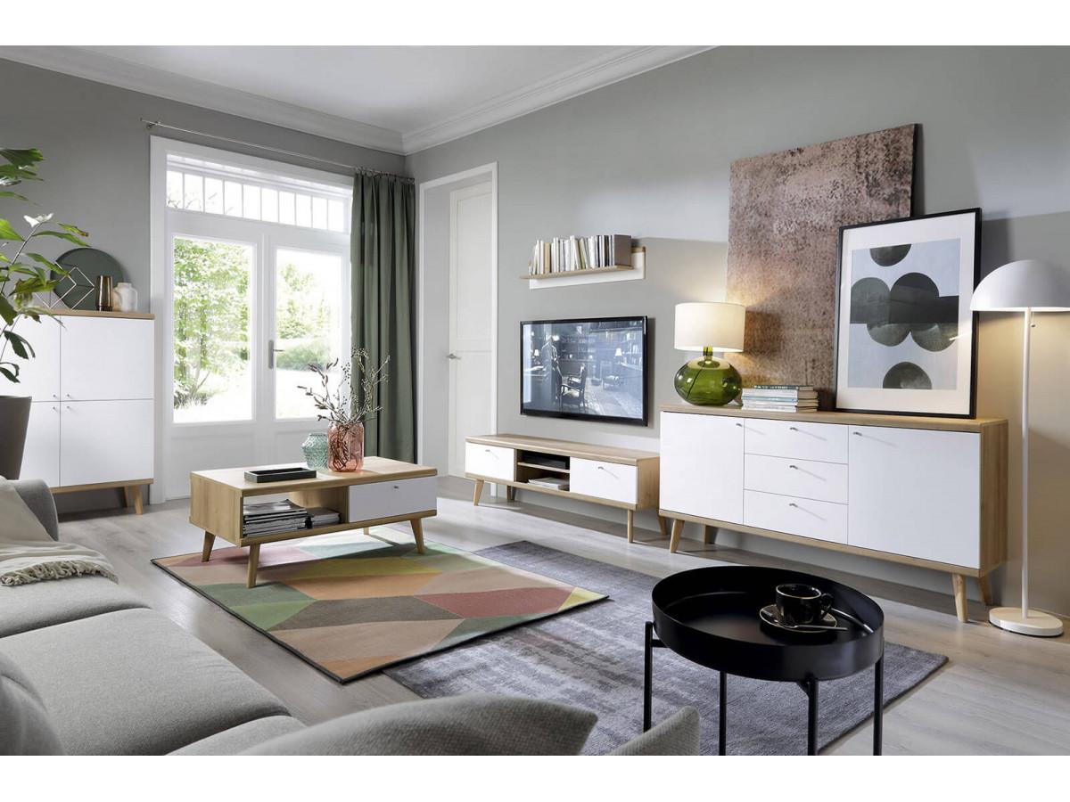 meuble tv 160 primino blanc et bois