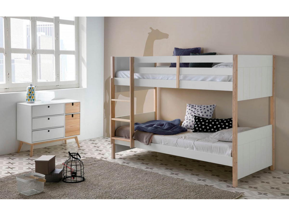 lit superpose 90x190 cm yugo blanc et bois clair
