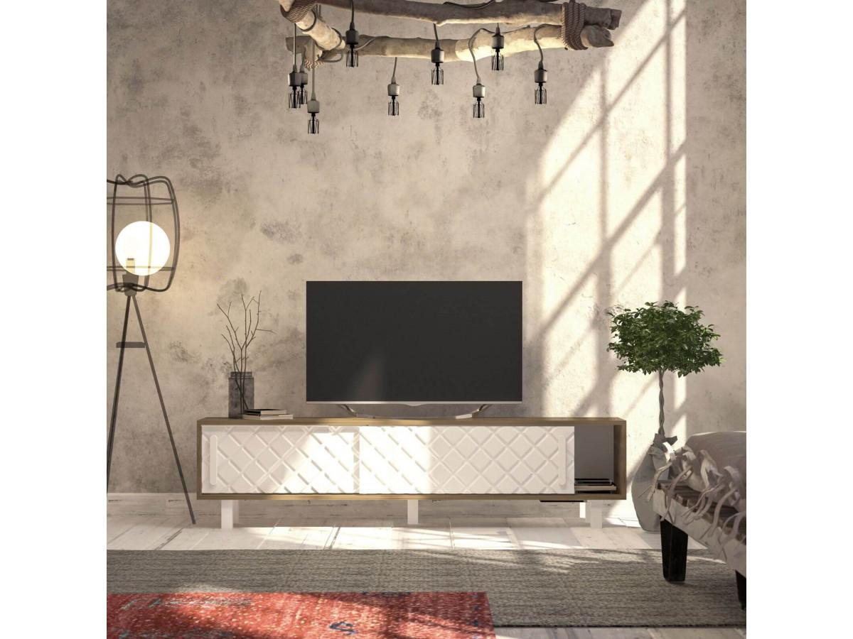meuble tv 180 cm vika chene et blanc