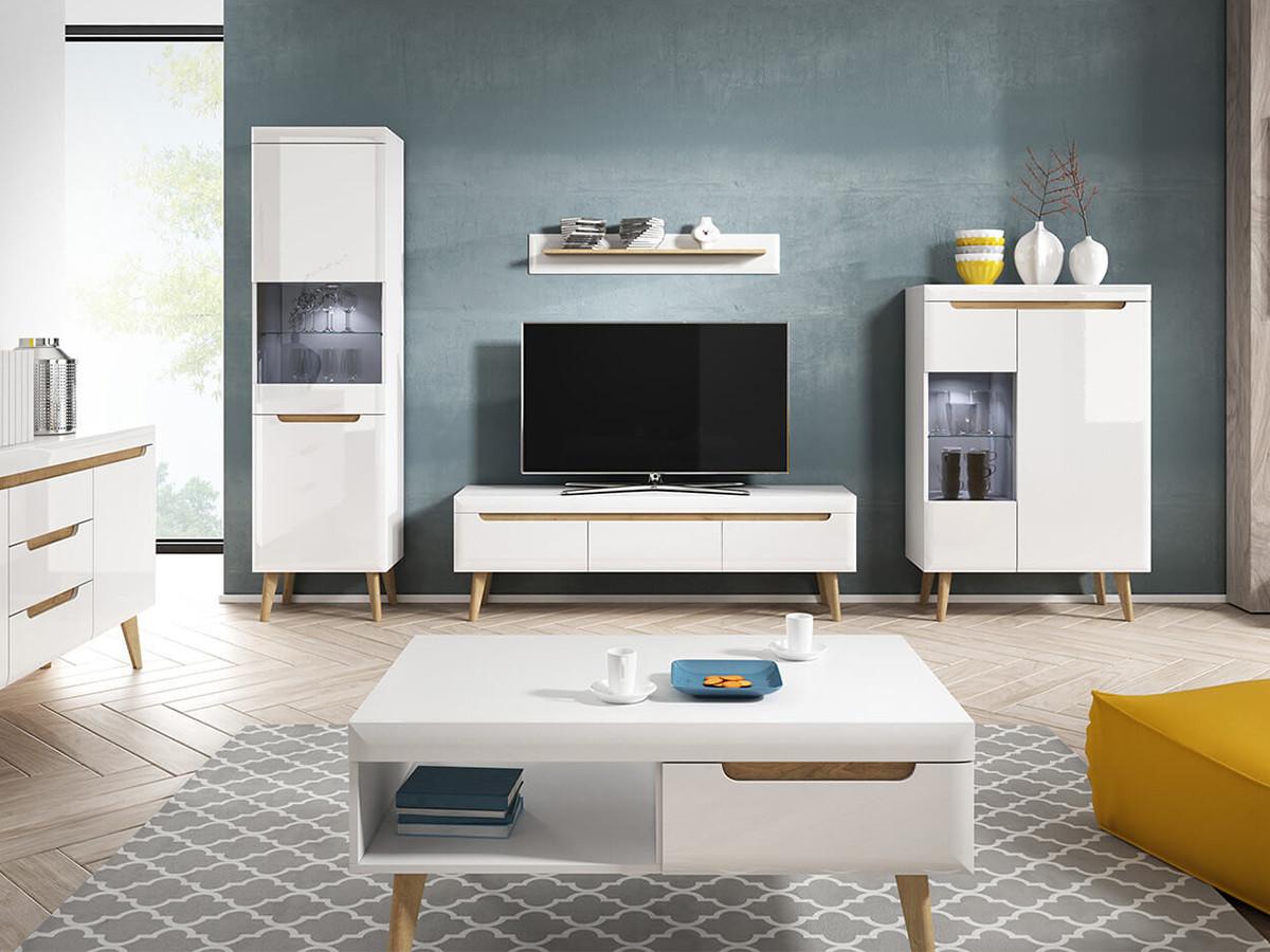 meuble tv nordi 160 blanc brillant et bois clair bobochic
