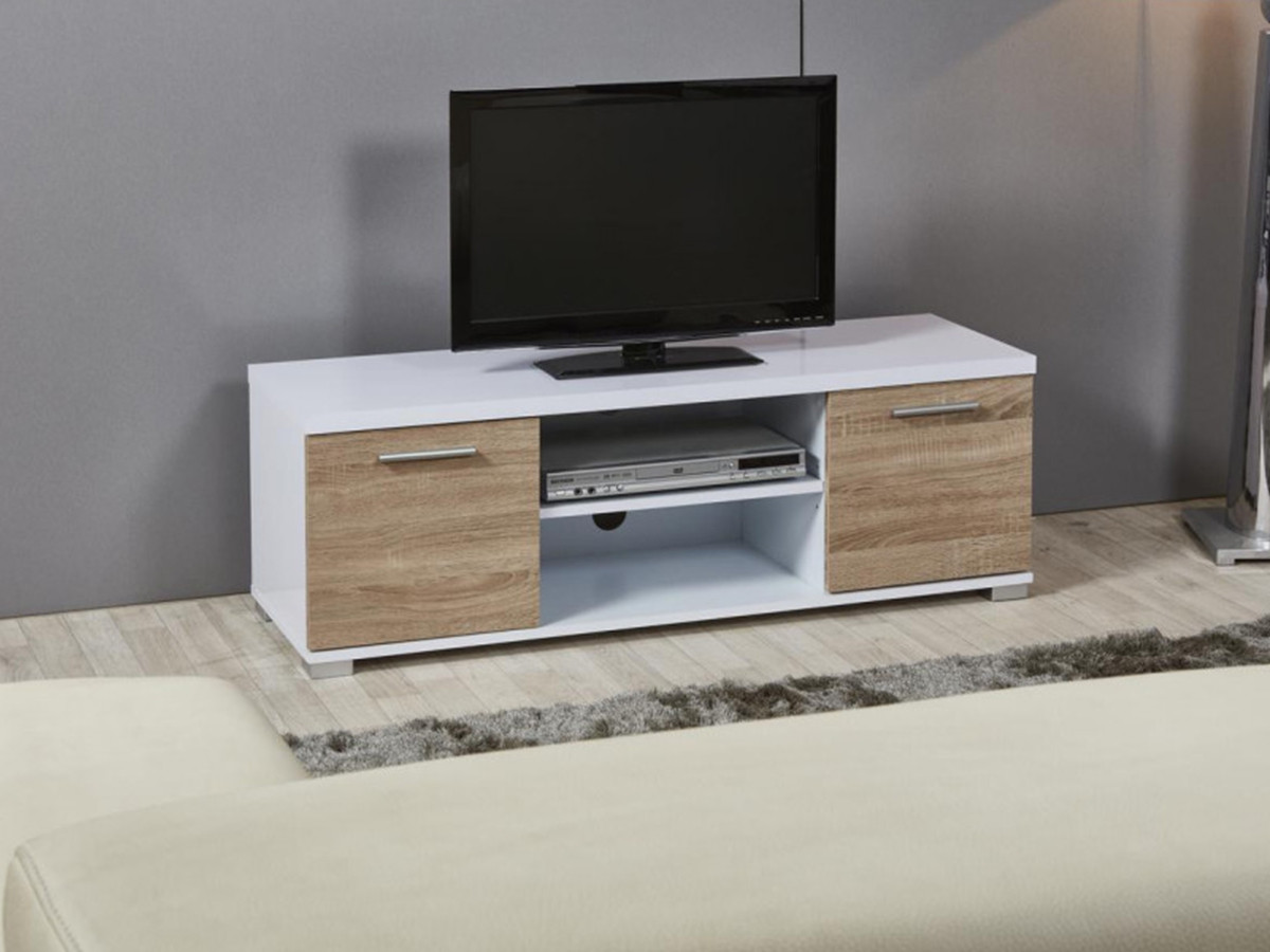 meuble tv tendance en bois mdf polly blanc et chene clair bobochic